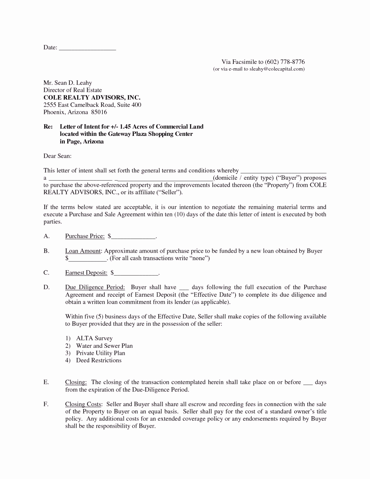 Mercial Real Estate Letter Of Intent Template Sample format