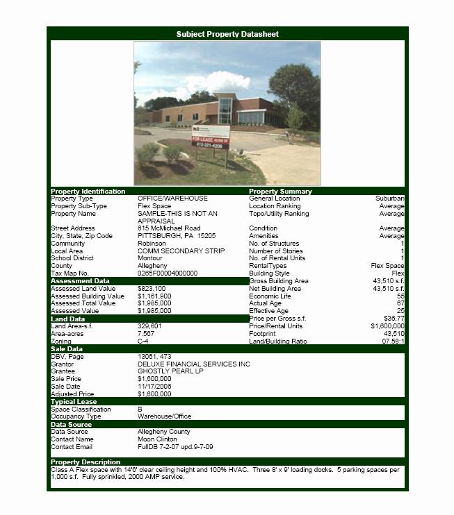 Mercial Real Estate software Property Datasheet