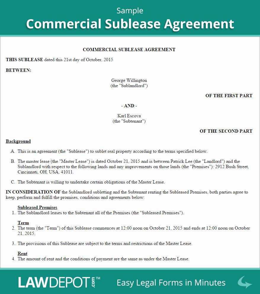 Mercial Sublease Agreement Template Us