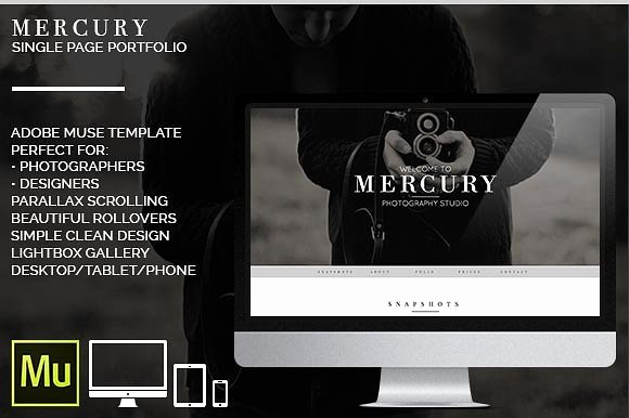 Mercury Adobe Muse Portfolio Website Templates On
