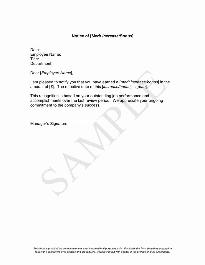 Merit Increase Letter Template Fiveoutsiders