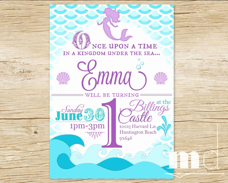 Mermaid Birthday Party Invitation Little Mermaid by