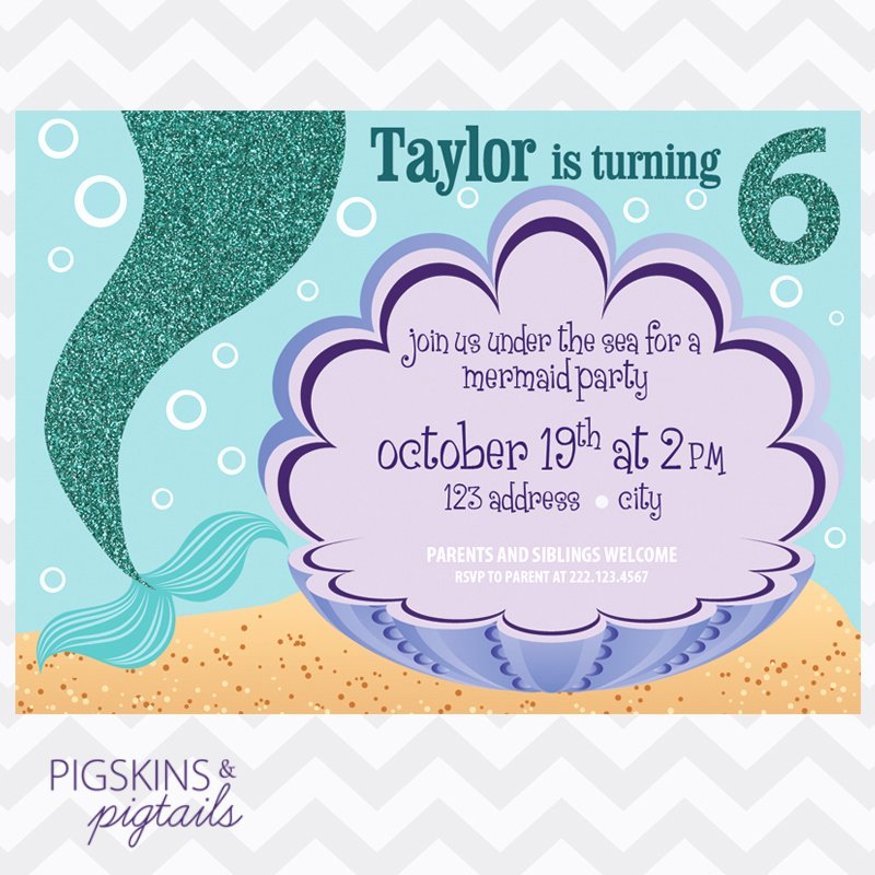 Mermaid Birthday Party Invitation Pigskins & Pigtails