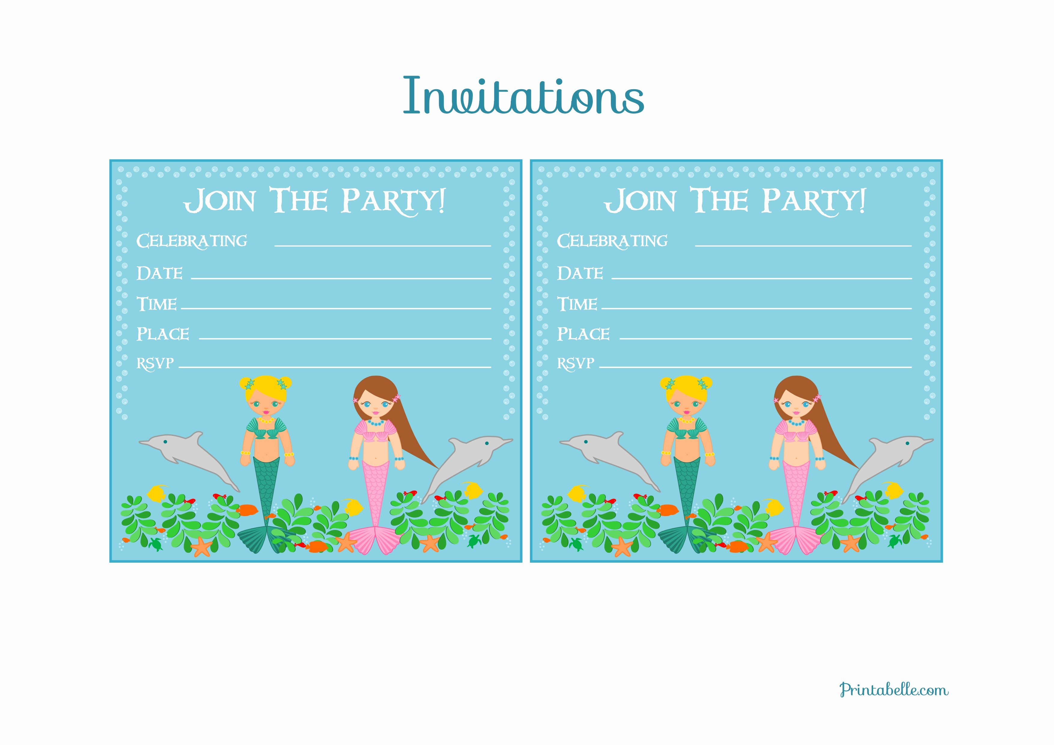 Mermaid Birthday Party Invitations Template