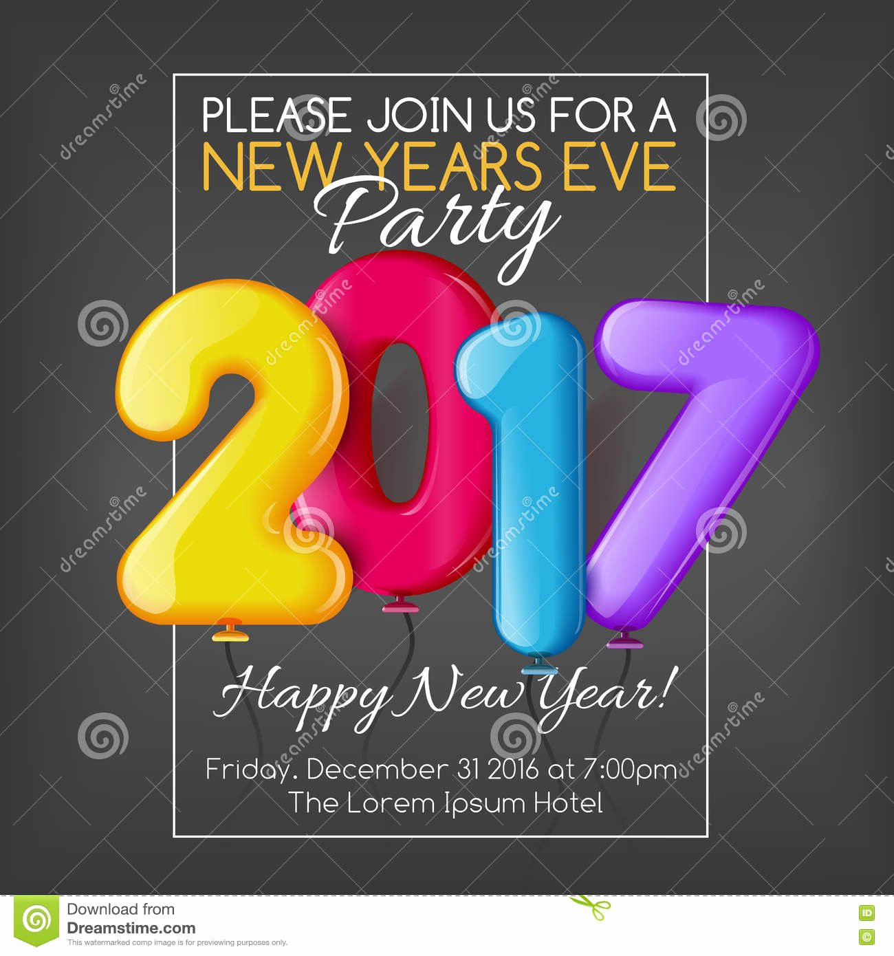 Merry Christmas and Happy New Year 2017 Party Invitation