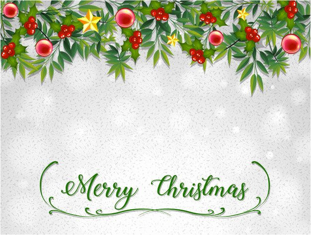 Merry Christmas Card Template with Mistletoes Vector