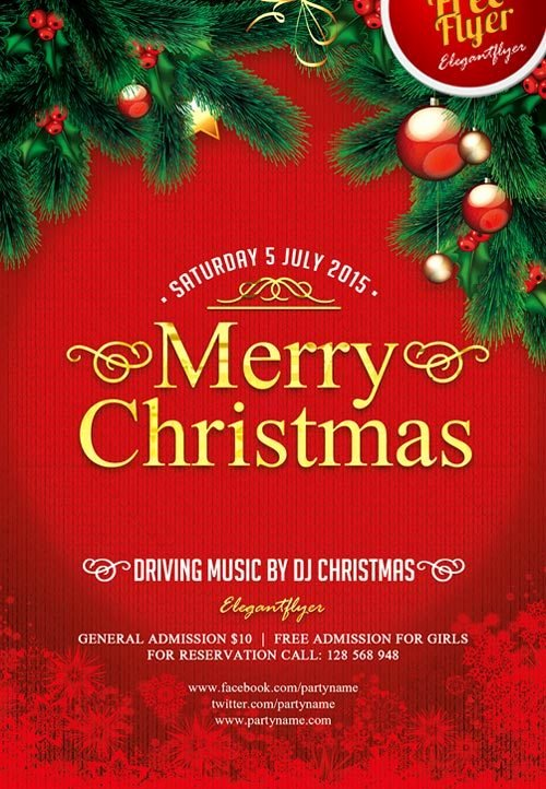 Merry Christmas Free Psd Flyer Template Download for