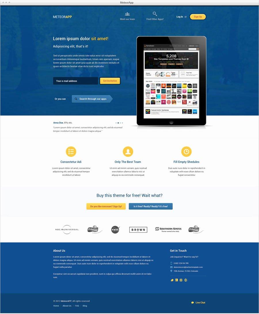 Meteorapp – Landing Page Psd Template Freebiesxpress