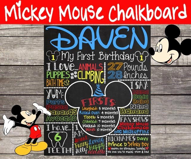 Mickey Mouse First Birthday Chalkboard 1st by