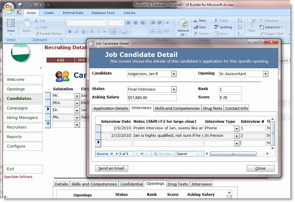 Microsoft Access Employee Recruiting Template