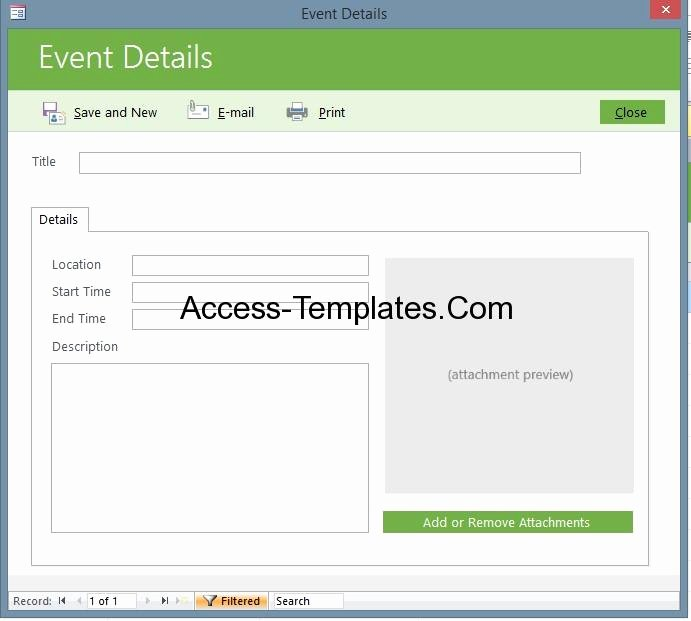 Microsoft Access event Management Template Database