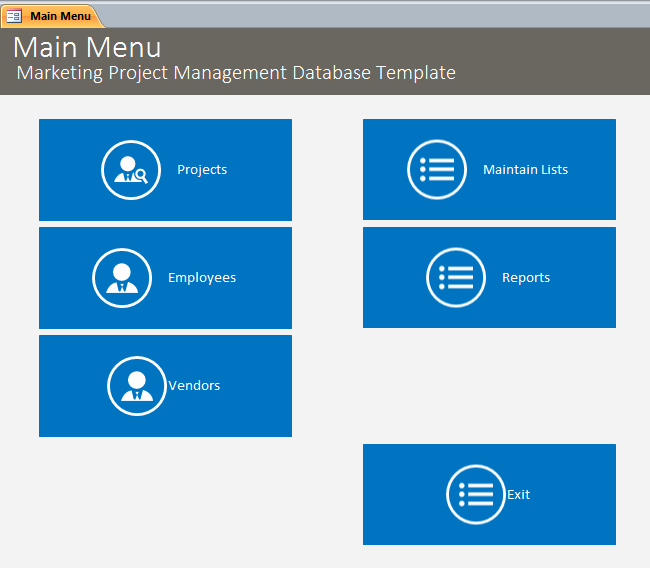 Microsoft Access Marketing Project Management Database