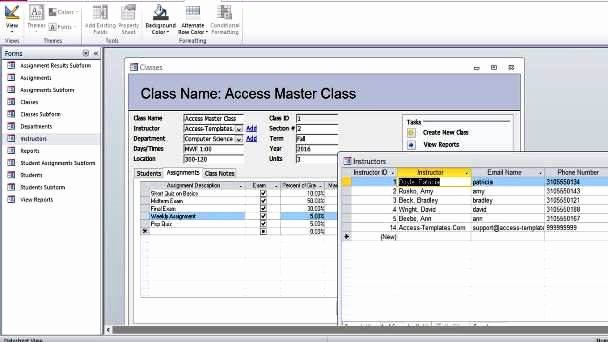 Microsoft Access Student Database Templates for Microsoft
