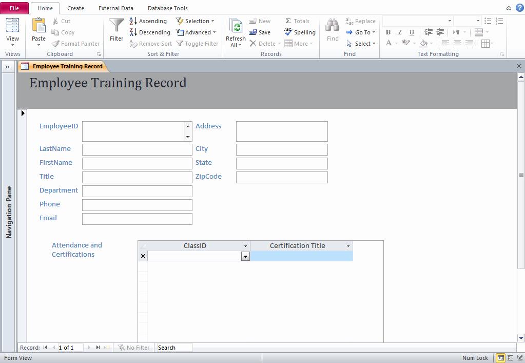 Microsoft Access Training Database Template Training