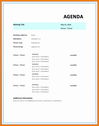 Microsoft Agenda Template