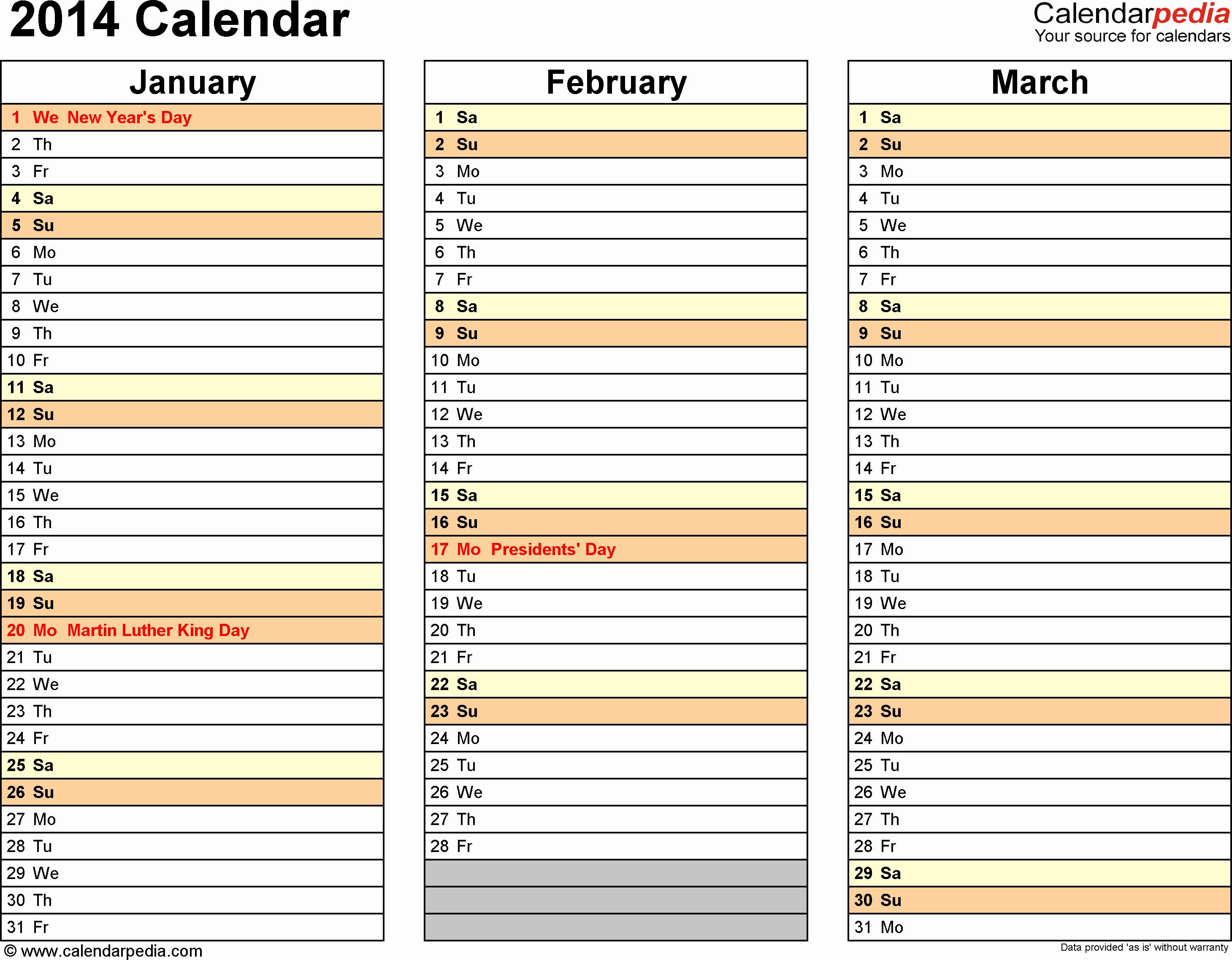 Microsoft Calendar Template 2014