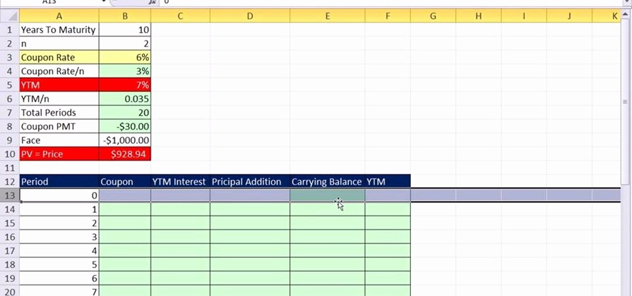 Microsoft Excel Amortization Table Template