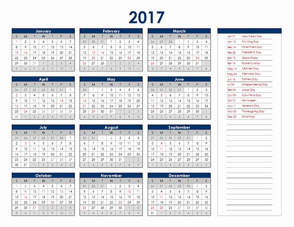 Microsoft Excel Calendar Template 2017