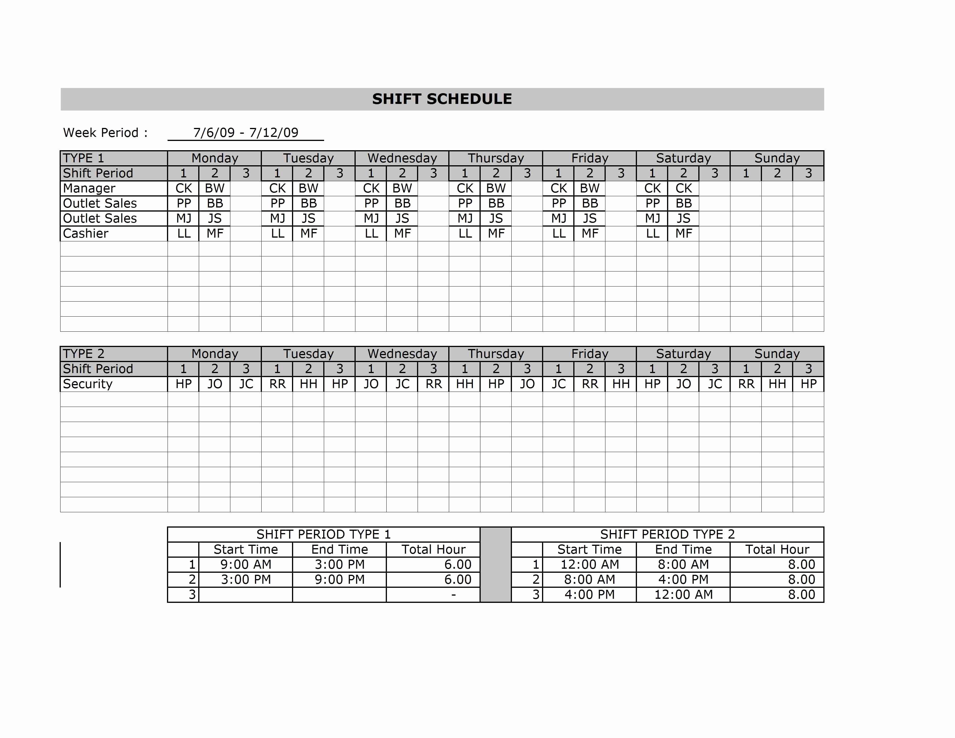 Microsoft Excel Employee Schedule Template Work Schedule