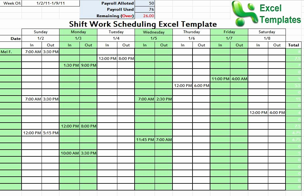 Microsoft Excel Weekly Employee Schedule Template 1000