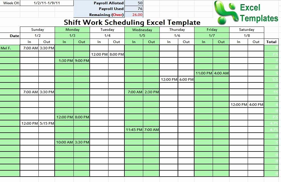 Microsoft Excel Weekly Employee Schedule Template 1000