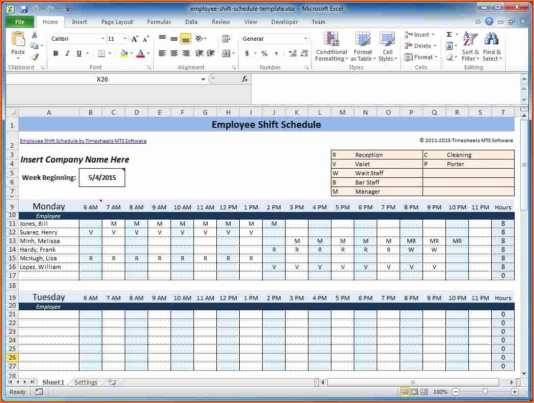 Microsoft Excel Weekly Employee Schedule Template Other