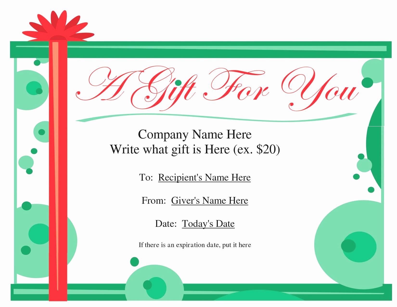 Microsoft Fice Gift Certificate Template