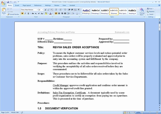 Microsoft Fice Procedure Manual Template