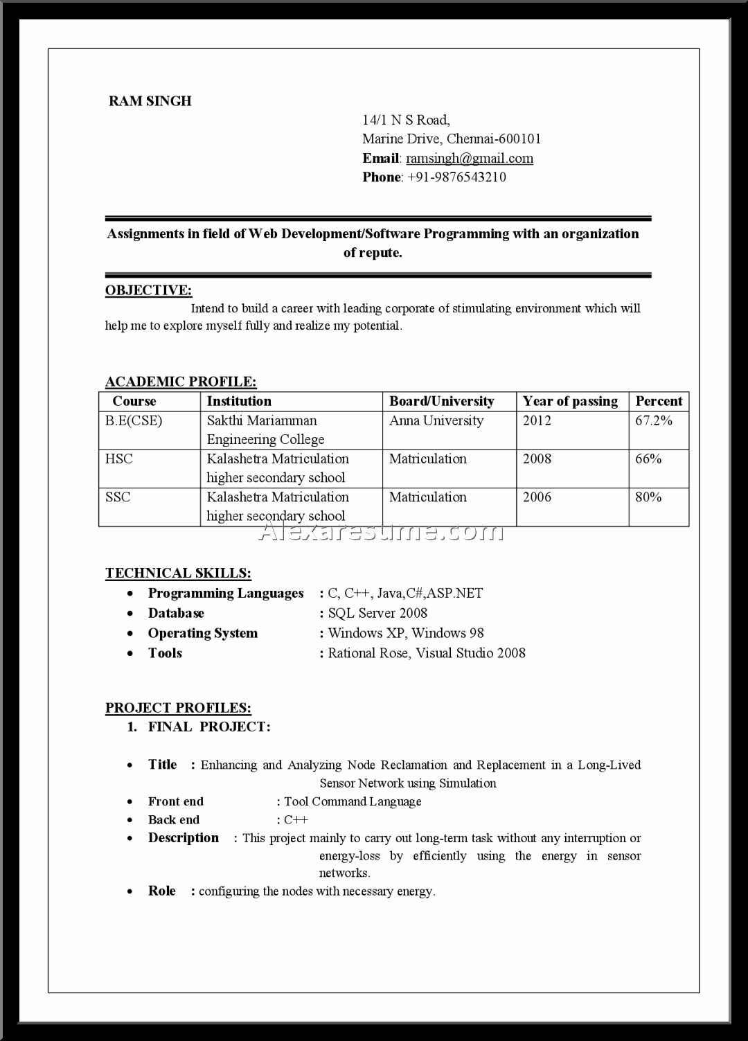 Microsoft Fice Resume format Free Templates for Freshers