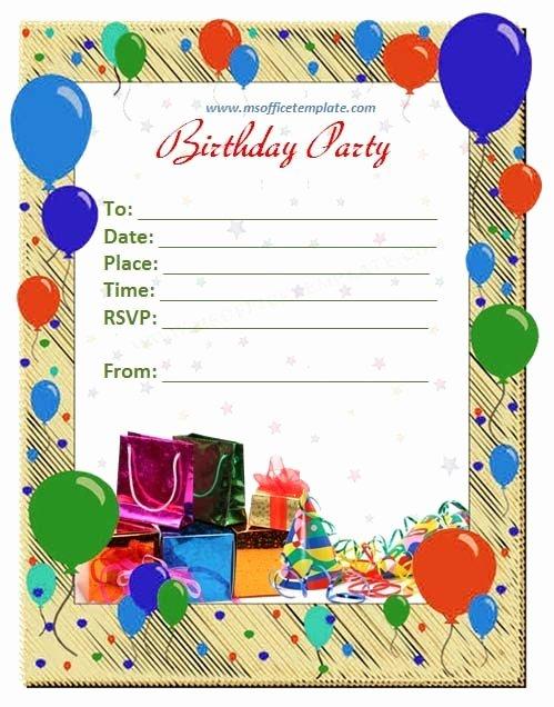 Microsoft Fice Templatesbirthday Invitation Card