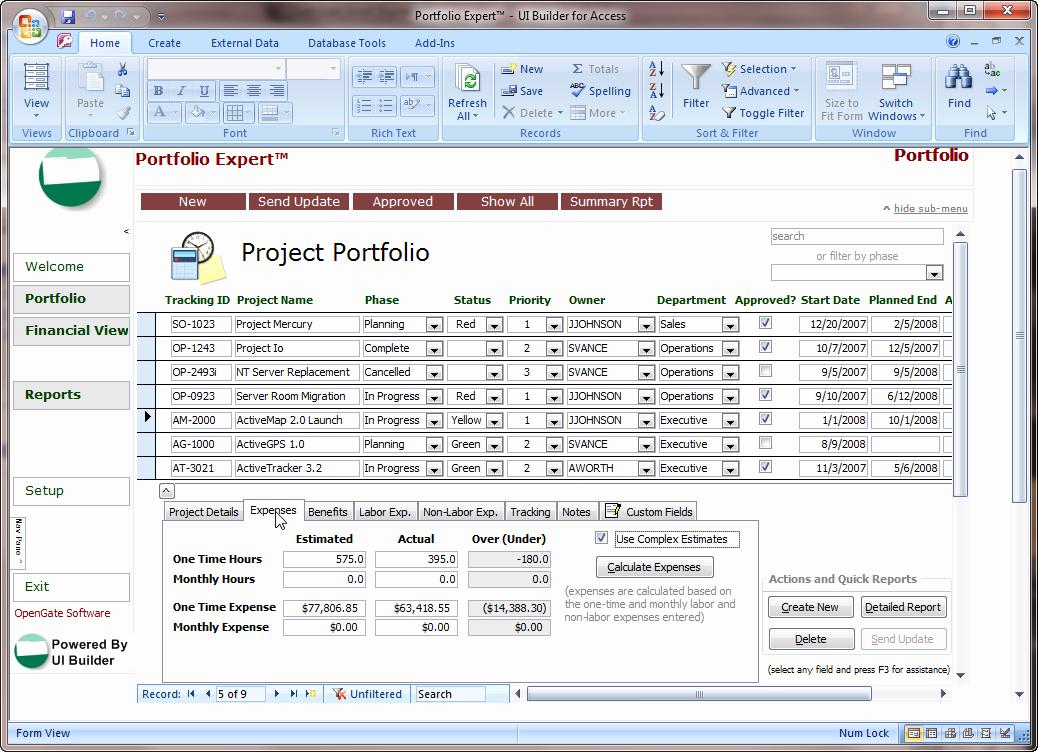 Microsoft Office Portfolio Template Microsoft Access
