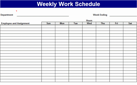 Microsoft Office Work Schedule Template Weekly Work