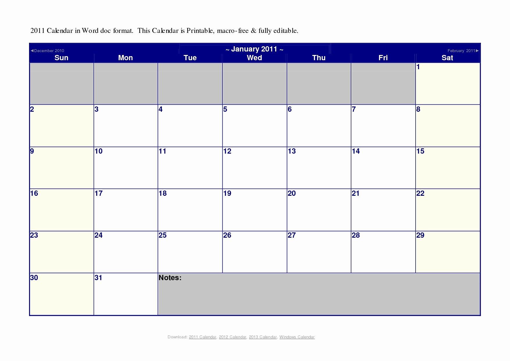 Microsoft Powerpoint Calendar Template