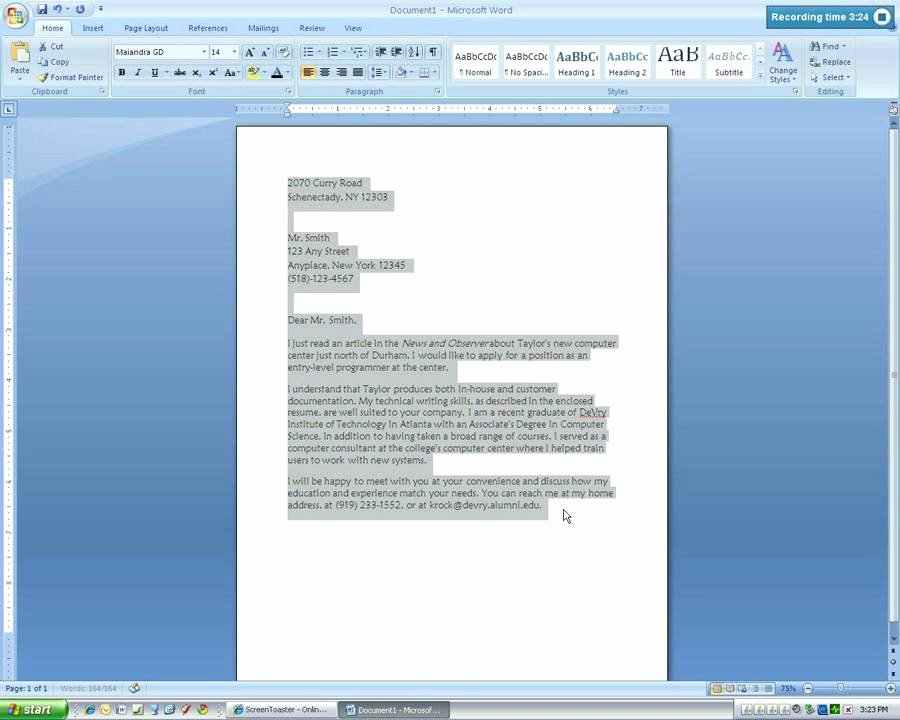 Microsoft Word 2007 Business Letter Tutorial4