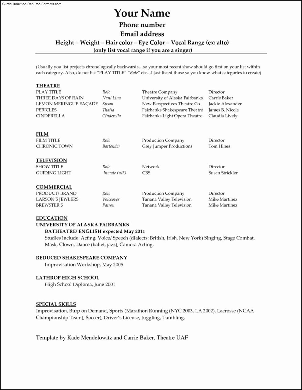 Microsoft Word 2010 Resume Template Free Samples