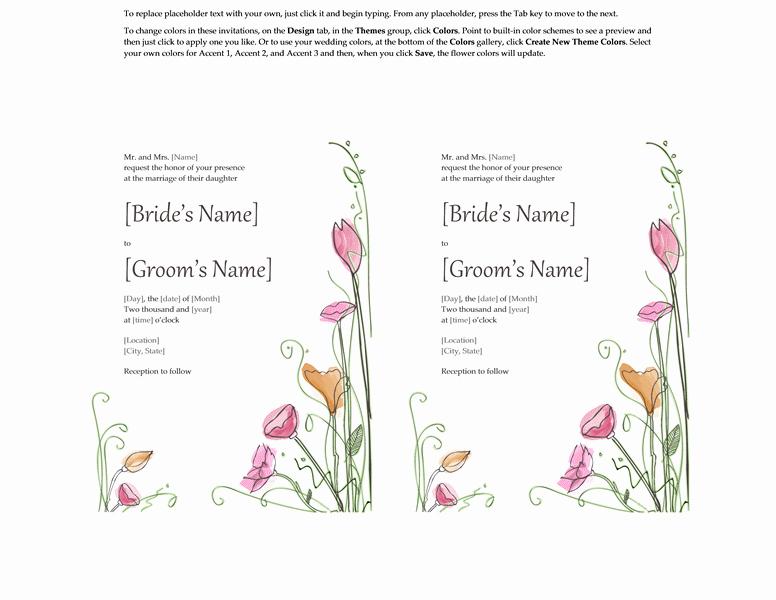 Microsoft Word 2013 Wedding Invitation Templates