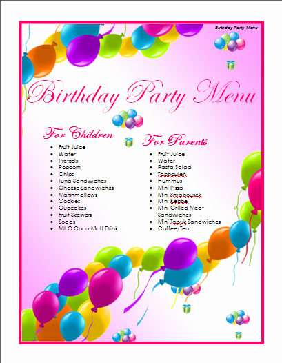 Microsoft Word Birthday Card Template Template