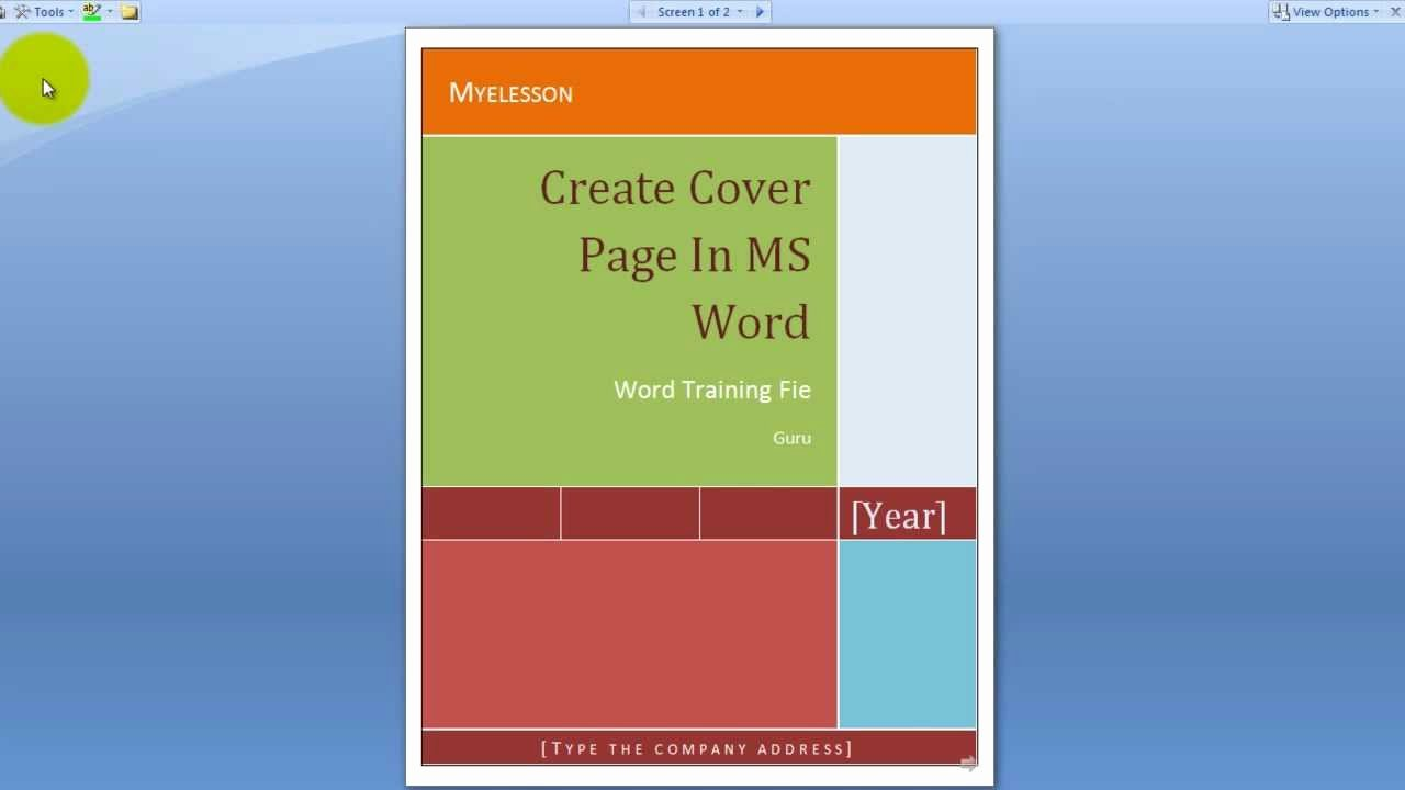 Microsoft Word Cover Page Template Free Download