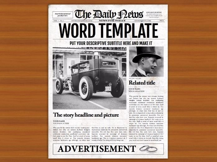 Microsoft Word Newspaper Template for Teachers and