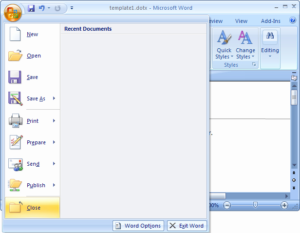 Microsoft Word Template Creation Ms Word 2007 Create A