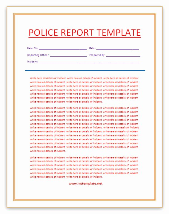 Microsoft Word Templates Police Report Template