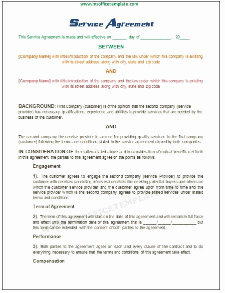Microsoft Word Templates Service Agreement Template