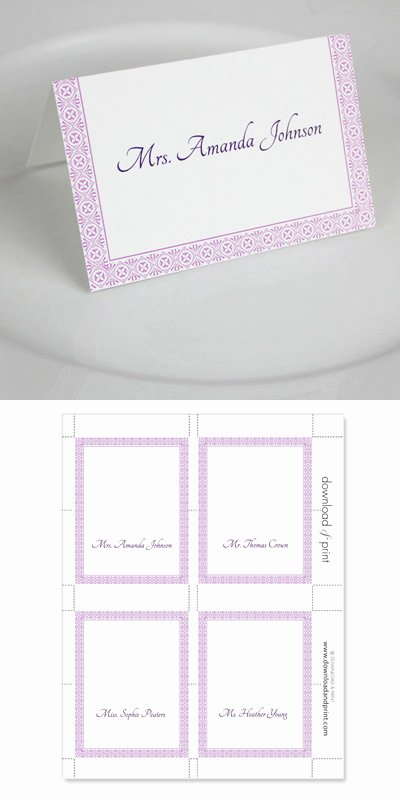 Microsoft Word Wedding Place Card Templates