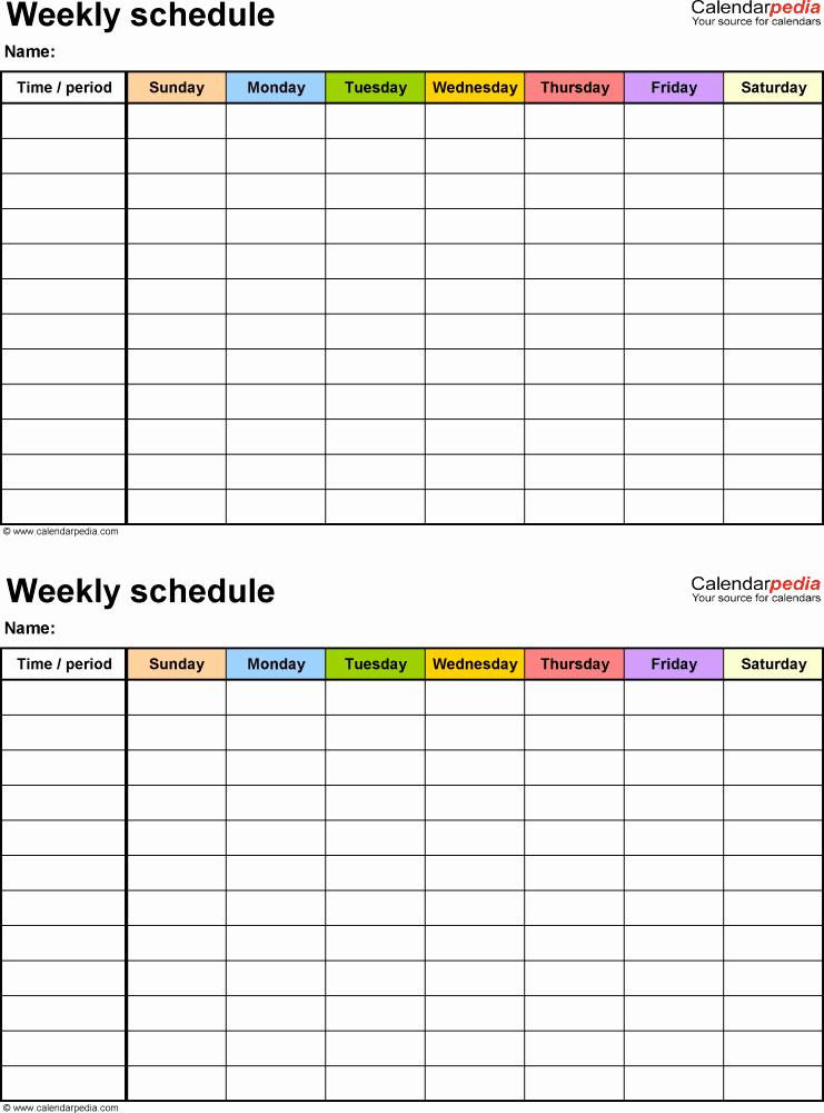 Microsoft Word Weekly Calendar Template Free Weekly
