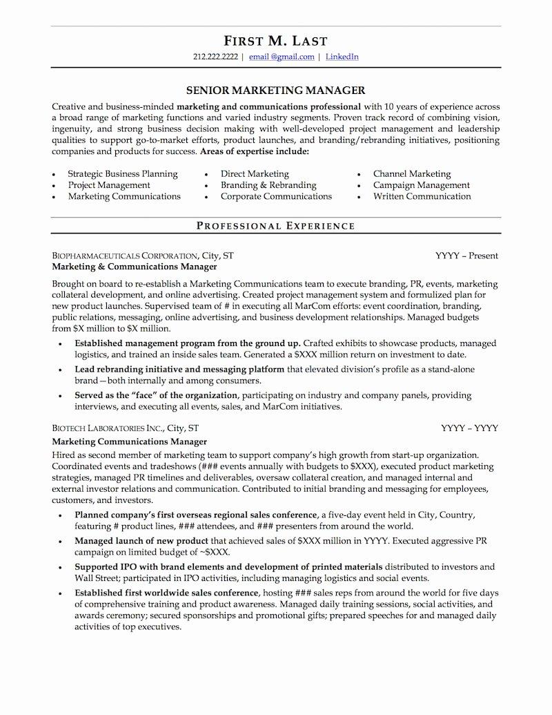 Mid Career Resume Sample