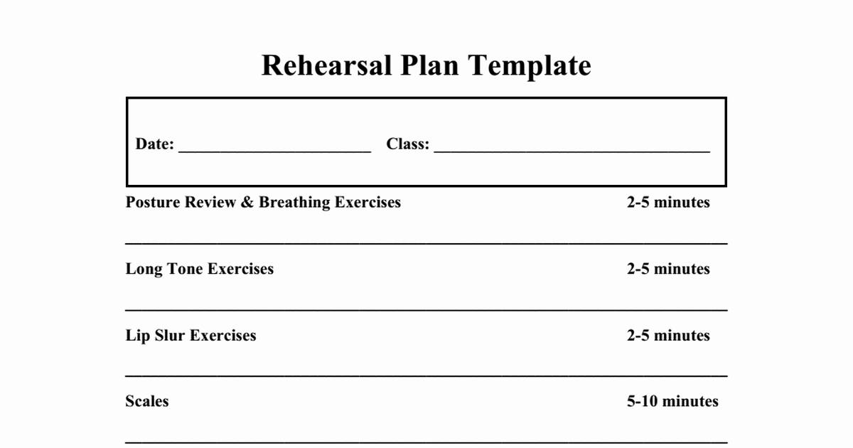 Middle School Band Lesson Plan Template