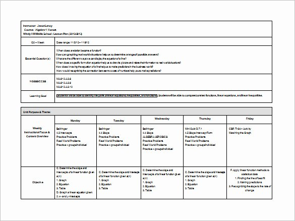 Middle School Lesson Plan Template 6 Free Word Excel
