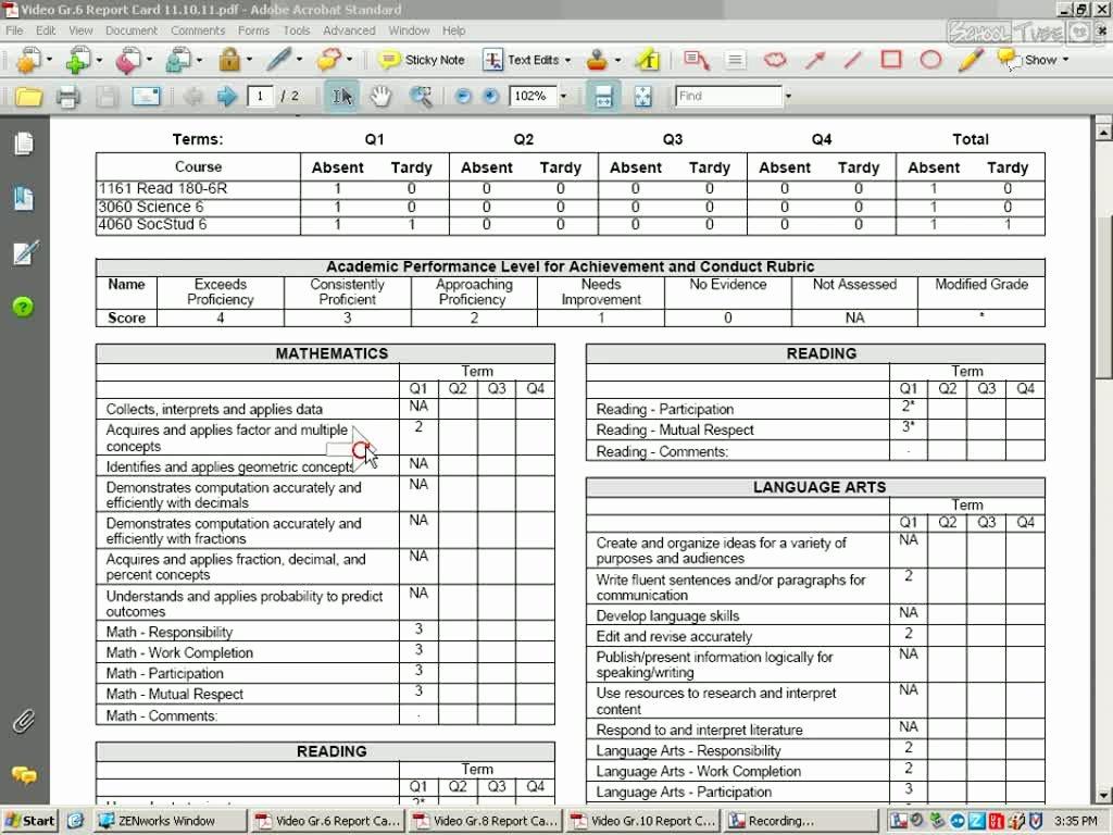Middle School Report Card Schooltube