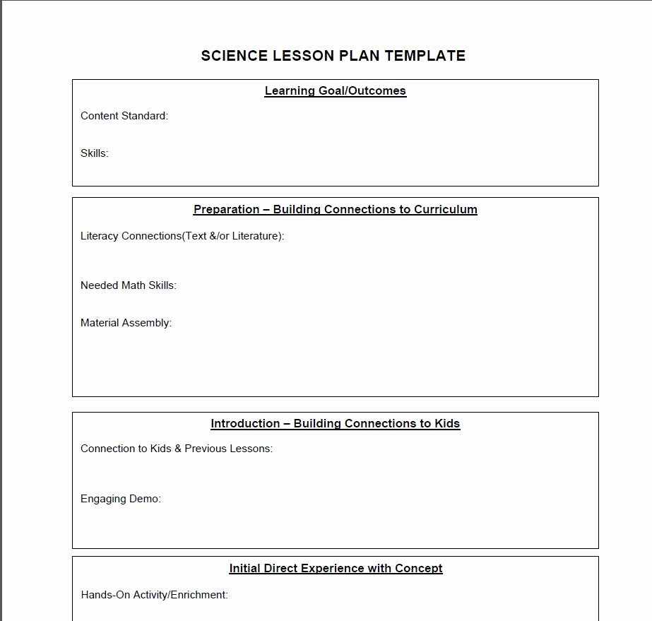 Middle School Science Lesson Plan Template Beautiful