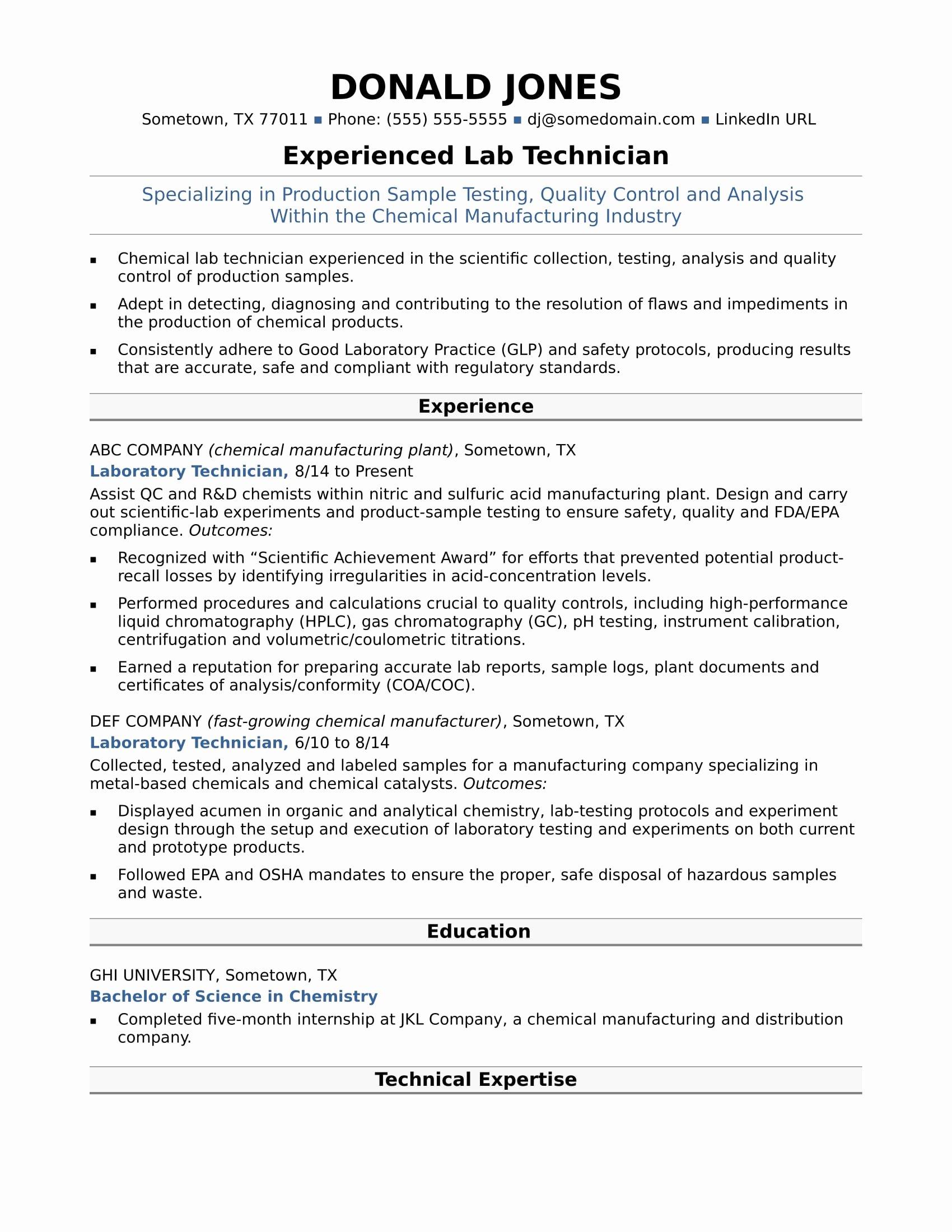 Midlevel Lab Technician Resume Sample